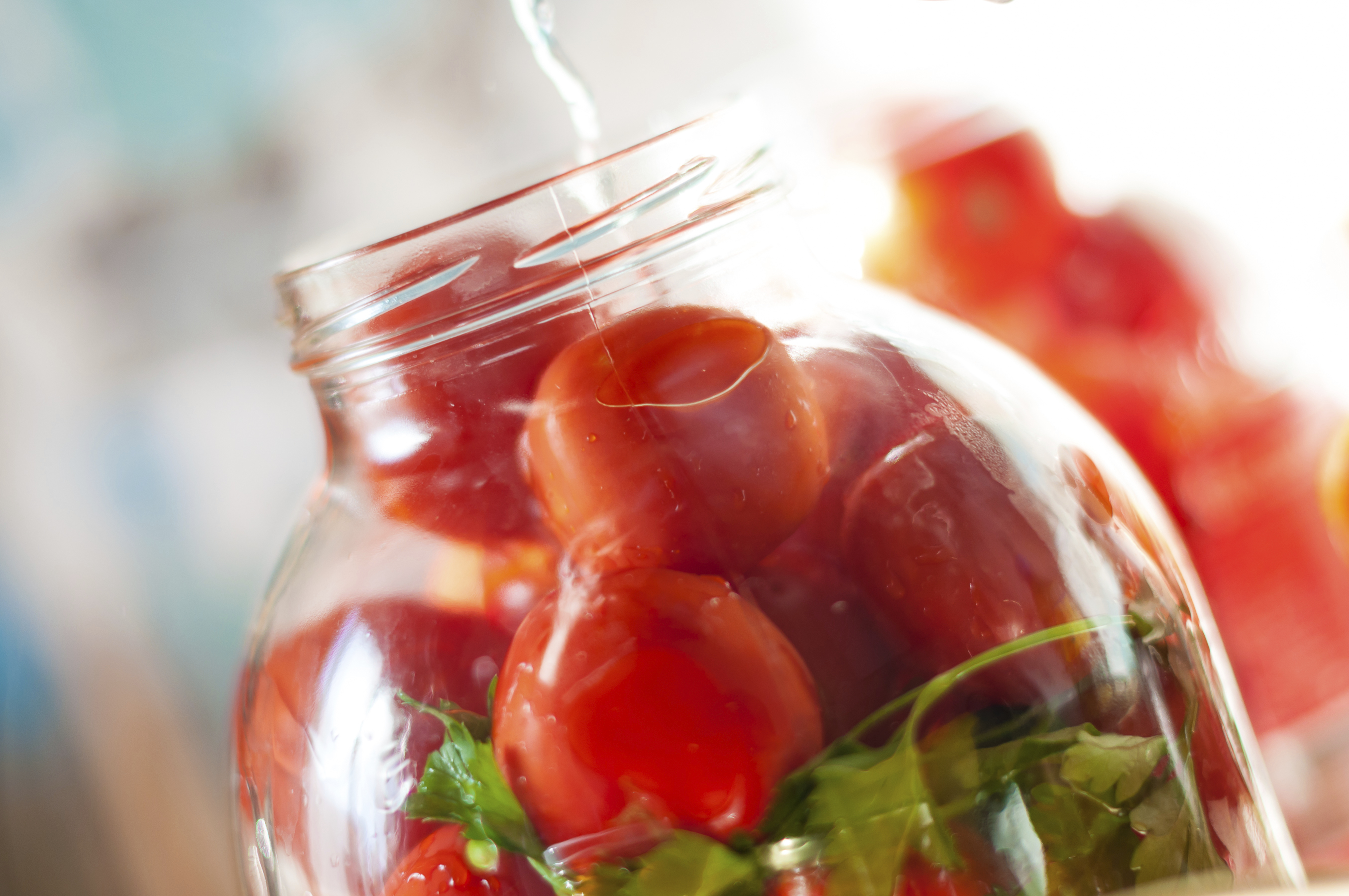 Tomatoes being swamped boiled water in process of canning. Canned tomato - good winter vegeterian food.